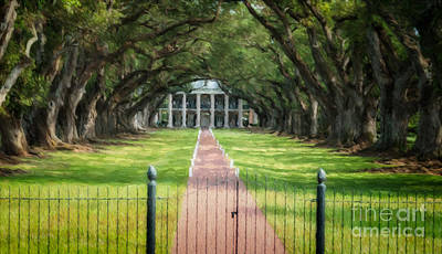 Photograph - Oak Alley Plantation Painting - Digital by Kathleen K Parker