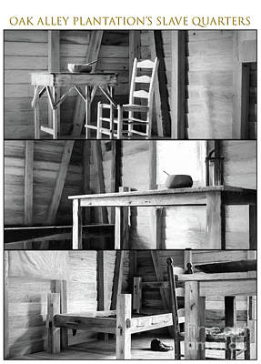 Photograph - Oak Alley Slave Quarters - Charcoal Triptych by Kathleen K Parker