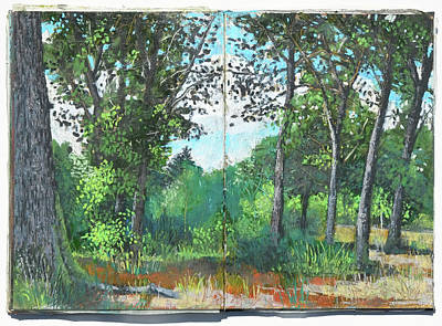 Painting - oak and beech forest in July , plein air oil pastel study by Martin Stankewitz