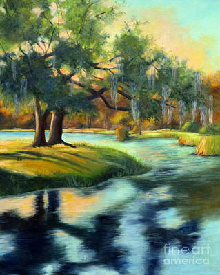 Lake Low Country Painting - Oak At The Lake by Patricia Huff