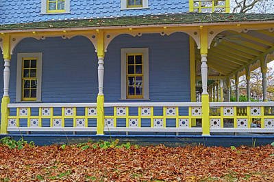Photograph - Oak Bluffs Cottages Martha's Vineyard Ma Cape Cod Autumn Yellow And Blue by Toby McGuire