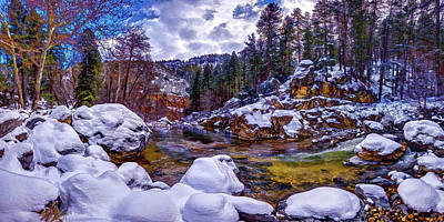 Contre-jour Photograph - Oak Creek Snow by ABeautifulSky Photography by Bill Caldwell