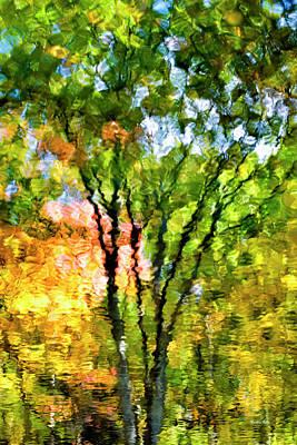 Impressionist Photograph - Oak Impressionist Tree Reflection by Christina Rollo