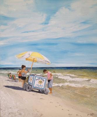Oak Island Beach Scene Art Print by John Schuller