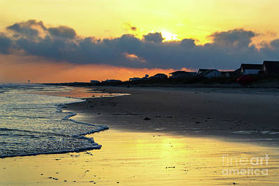 Photograph - Oak Island Yellow Sunset by Amy Lucid