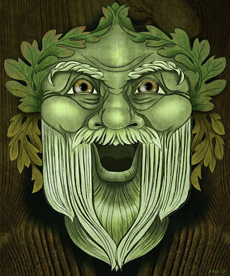 Wiccan Painting - Oak King Green Man by Little Bunny Sunshine