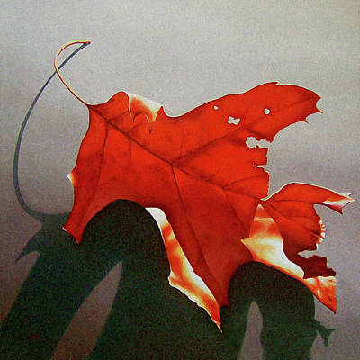 Realism Painting - Oak Leaf 1 by Timothy Jones