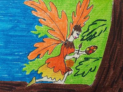 Wall Art - Drawing - Oak Leaf Fairy by Helen Krummenacker