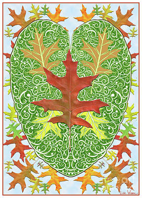 Oak Leaf In A Heart Art Print
