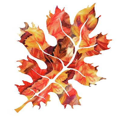 Painting - Oak Leaf Watercolor Silhoette by Irina Sztukowski