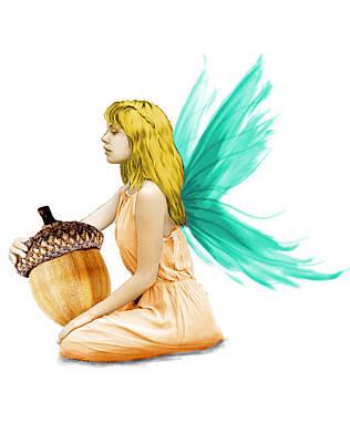 Digital Art - Oak Tree Fairy Holding Acorn by Yuichi Tanabe