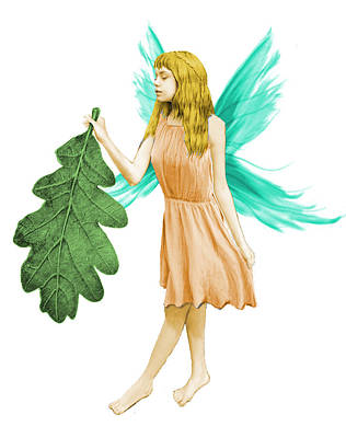 Digital Art - Oak Tree Fairy With Oak Leaf by Yuichi Tanabe