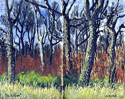 Painting - Oak Tree Forest,nature Diary by Martin Stankewitz