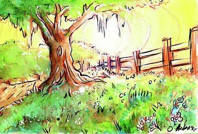 Painting - Oak Tree Hill by Nada Meeks