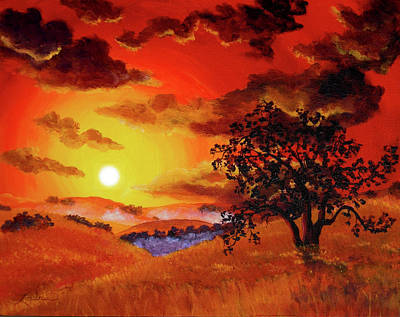 Oak Tree In Red Sunset Art Print by Laura Iverson