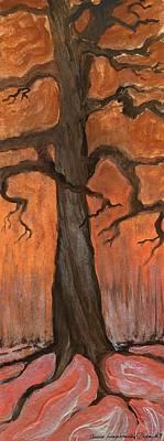 Folkartanna Painting - Oak Tree In The Fall by Anna Folkartanna Maciejewska-Dyba