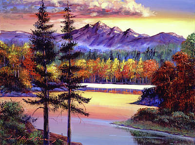 Painting - Oak Tree Lake At Sunset by David Lloyd Glover