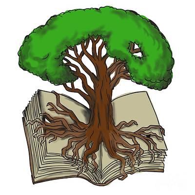 Oak Tree Roots On Book Tattoo Art Print