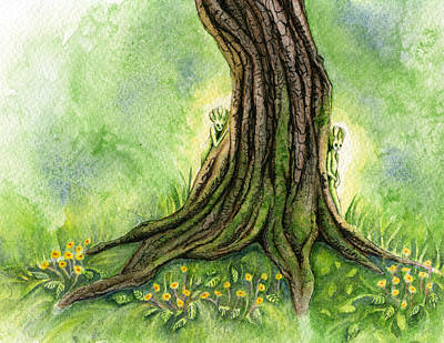 Faery Painting - Oak Tree Sprites by Antony Galbraith