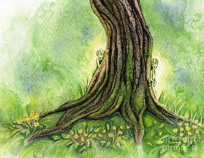 Faery Painting - Oak Tree Sprites by Antony Galbraith