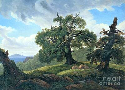 Painting - Oak Trees By The Sea by Pg Reproductions