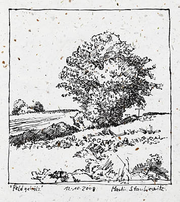 Drawing - Oak Trees In The Fields Plein Air Ink Drawing by Martin Stankewitz