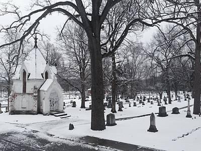 Mausoleum Digital Art - Snowy Oak Hill by 2141 Photography