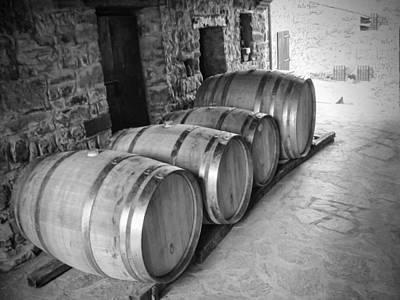 Oaking Wine Black And White Art Print