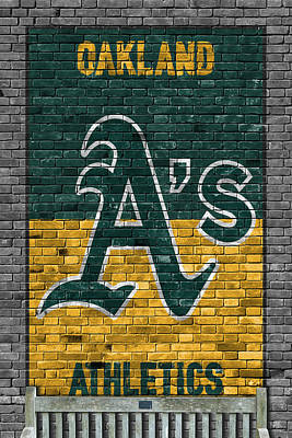 Painting - Oakland Athletics Brick Wall by Joe Hamilton