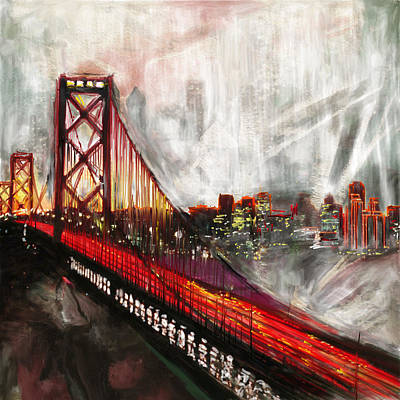 Painting - Oakland Bay Bridge 223 2 by Mawra Tahreem