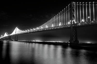 Print featuring the photograph Oakland Bay Bridge At Night by Darcy Michaelchuk