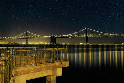 Oakland Bay Bridge By The Pier In San Francisco At Night Art Print