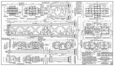 Photograph - Oakland Bay Bridge Towers Blueprint  1935 by Daniel Hagerman