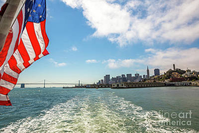 Photograph - Oakland Bridge With Flag by Benny Marty