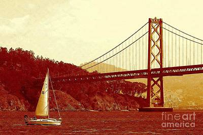 Photograph - Oakland Bridge And Grace Sailing In San Francisco Bay by Michael Hoard