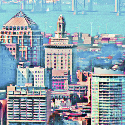 Photograph - Oakland City Hall And The Oakland Skyline 20180515 Square by Wingsdomain Art and Photography