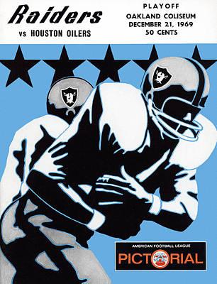 Oakland Raiders Painting - Oakland Raiders V Houston Oilers 1969 Program by John Farr
