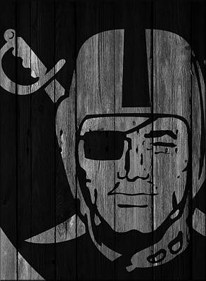 Oakland Raiders Wood Fence Art Print by Joe Hamilton