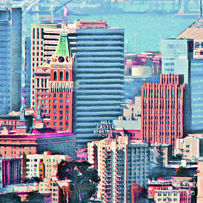 Photograph - Oakland Tribune And The Oakland Skyline 20180515 Square by Wingsdomain Art and Photography