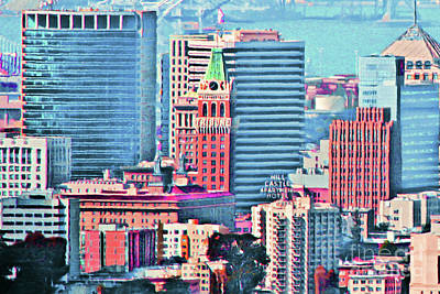 Photograph - Oakland Tribune And The Oakland Skyline 20180515 by Wingsdomain Art and Photography