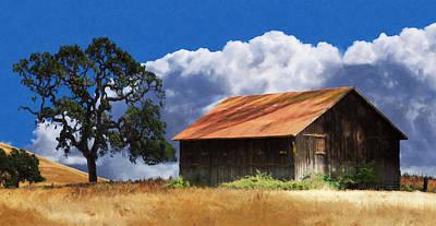 Wine Country Digital Art - Oaks Barn by Stan Angel