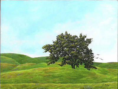 Painting - Lone Oak And Wildflowers by Kathie Miller