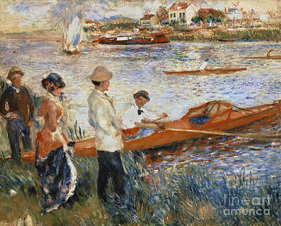 Riverbank Painting - Oarsmen At Chatou by Pierre Auguste Renoir
