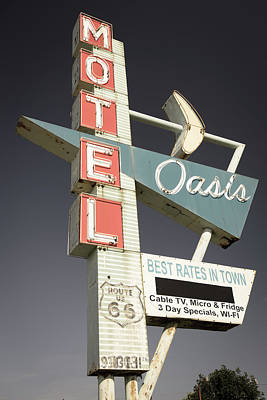 Oasis Motel Vintage Neon Sign - Aged Photograph Art Print