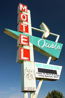 Photograph - Oasis Motel Vintage Neon Sign - Colorful Photograph by Gregory Ballos