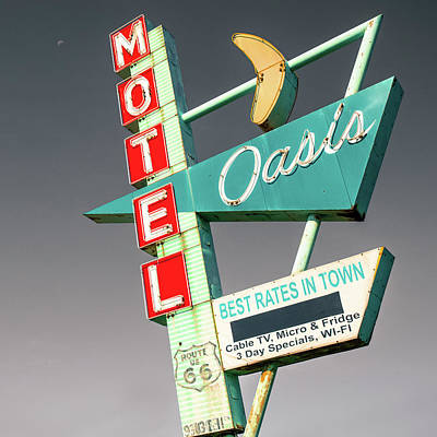 Photograph - Oasis Motel Vintage Neon Sign Square - Route 66 Icon - Tulsa Oklahoma by Gregory Ballos