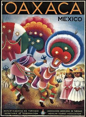 Mixed Media - Oaxaca, Mexico - Mexicans Dancing In Ceremonial Dress - Retro Travel Poster - Vintage Poster by Studio Grafiikka