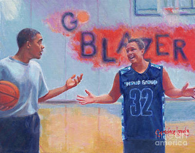 Basket Ball Painting - Obama And Wolf by Candace Lovely