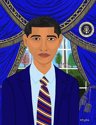 Michelle Obama Digital Art - Obama Cares 44th President  by Mallory Blake