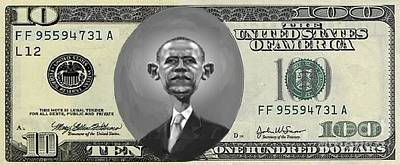 Currency Mixed Media - Obama Dollar by Charles Robinson